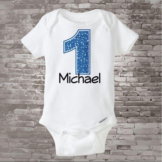1st Birthday Onesie Blue Number 1 First Shirt
