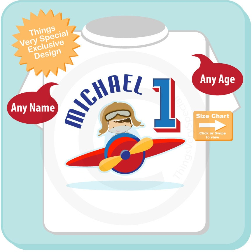 1 Year Old Boys Personalized Pilot Birthday Shirt Or Onesie With Childs Name And Age 05022018a Gallery Photo