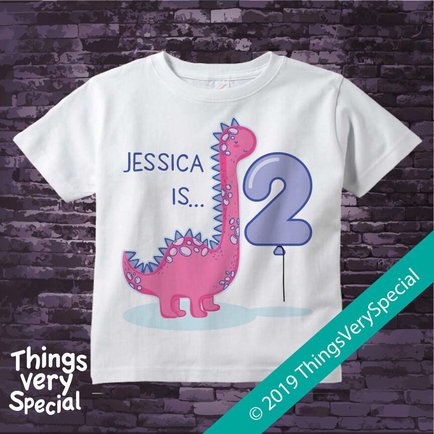 Girls Dinosaur 2nd Birthday Tee Shirt Or Onesie Bodysuit For Infant