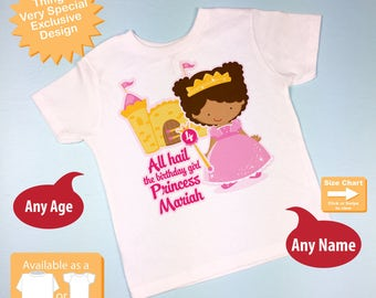 Fourth Birthday Shirt, African American Princess Birthday Shirt, Personalized Cute Princess 4th Birthday Girl Tee Shirt (09212015a)