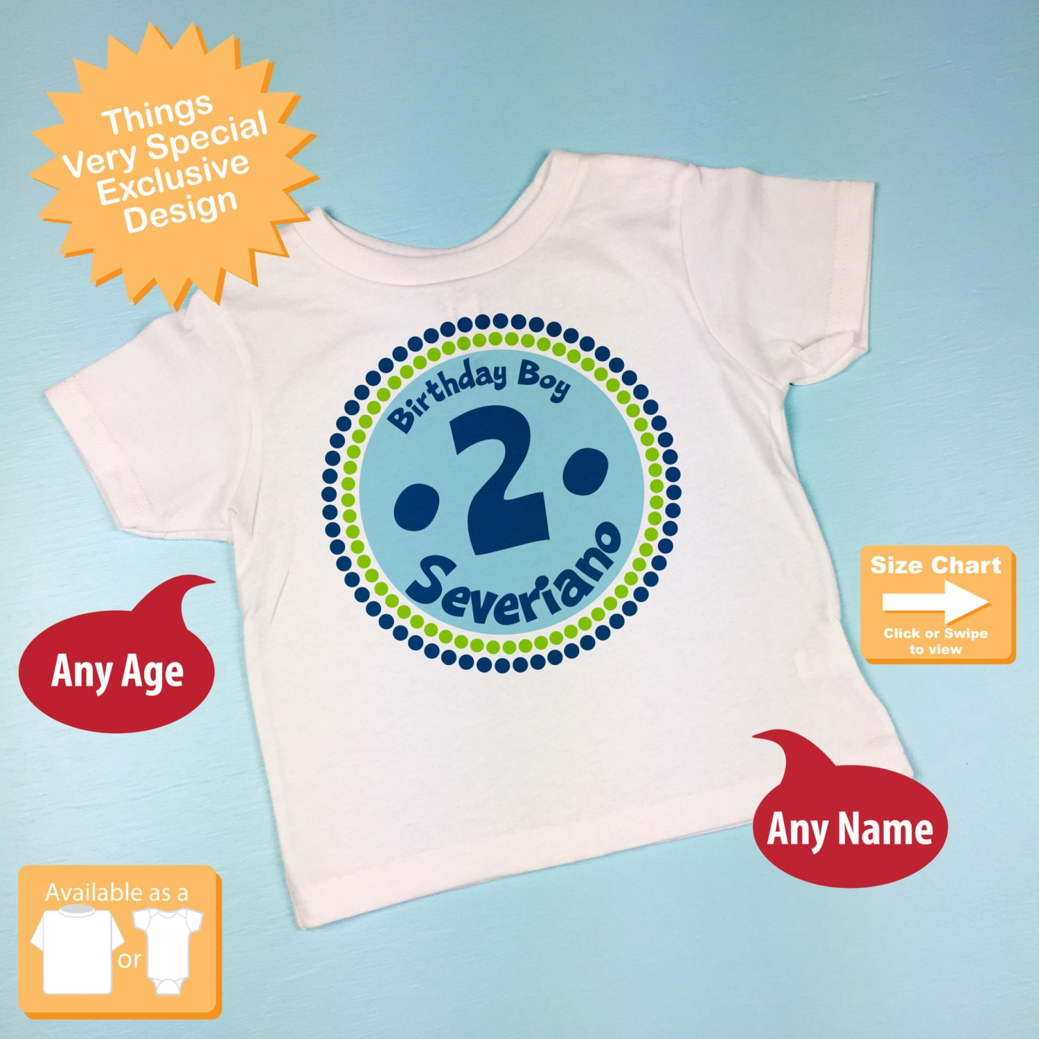2nd Birthday Shirt Two Year Old Personalized Boy Circle Tee Or Onesie Green Blue 04152014f