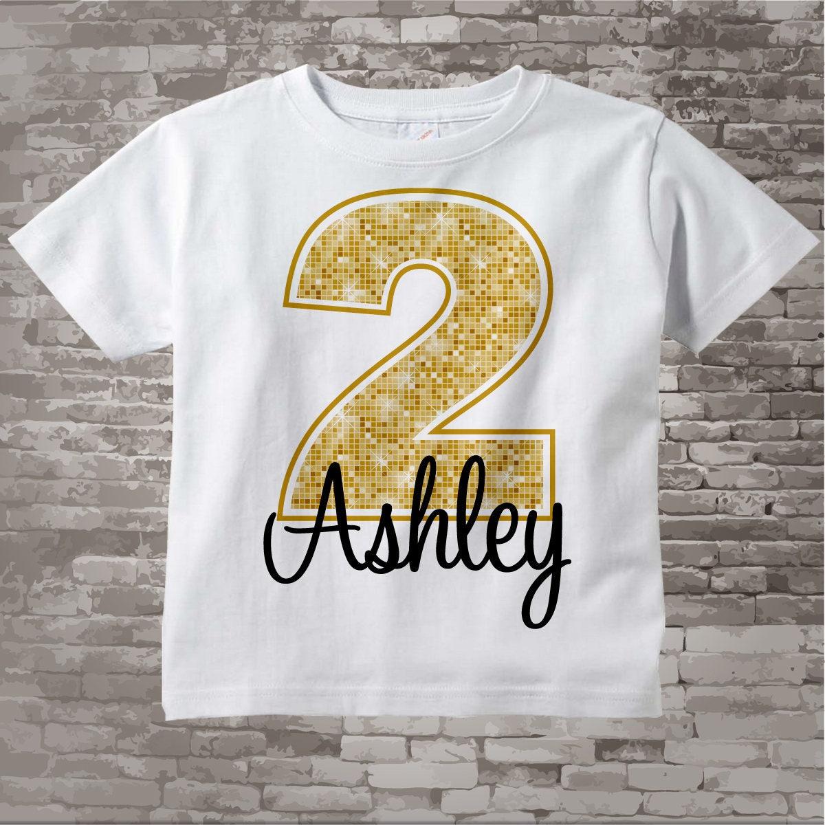 Second Birthday Shirt Golden 2 Personalized Girls