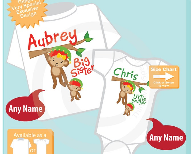 Christmas Big Sister Little Brother outfits, Sibling Shirt set, Personalized Tshirt with Cute Monkey shirts (1108016m)
