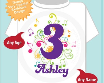 3rd Birthday Shirt, Music Themed Third Birthday Shirt, Number 3, Personalized Girls Birthday T-shirt, Three Year Old Kids Tee (04032014a)