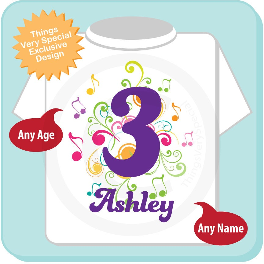3rd Birthday Shirt Music Themed Third Number 3 Personalized Girls T Three Year Old Kids Tee 04032014az