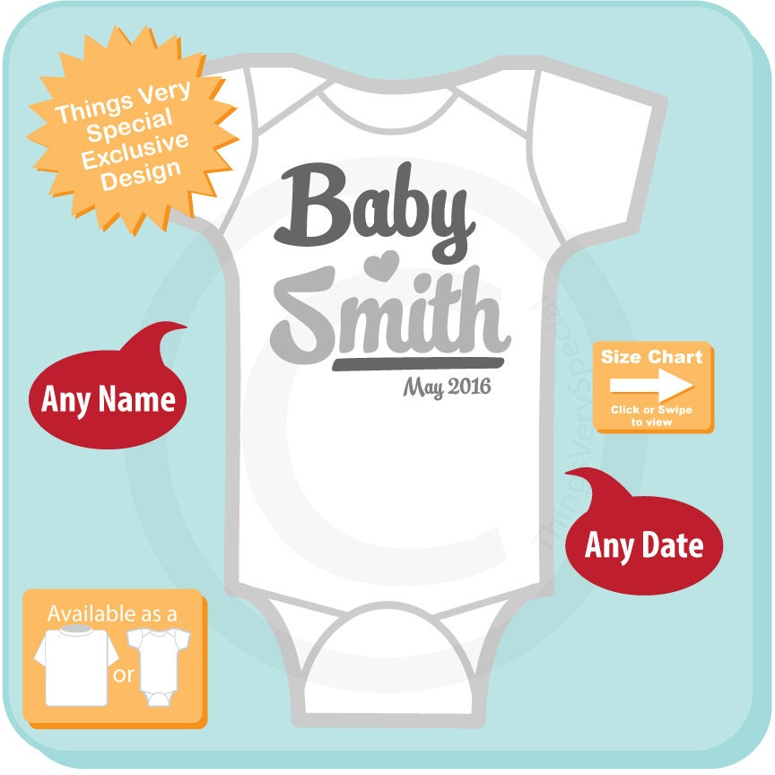 Neutral Baby Onesie or Tee Shirt with Family last Name and Due Date ...