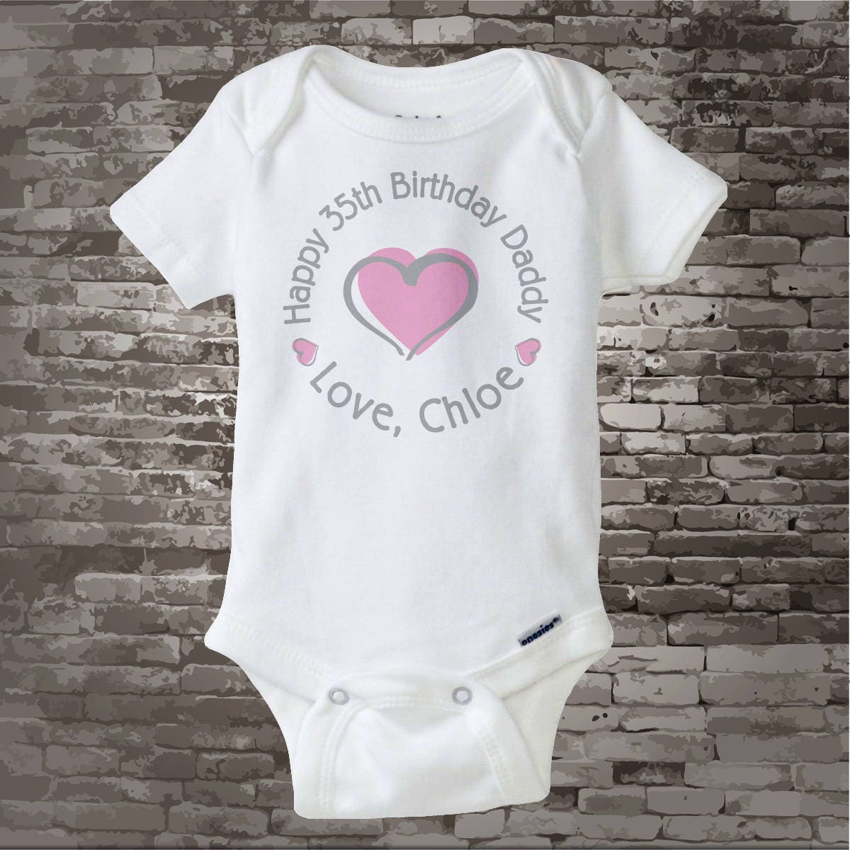 Happy Birthday Daddy Shirt Or Onesie With Pink Heart Personalized Dads Age 05232014a Gallery Photo