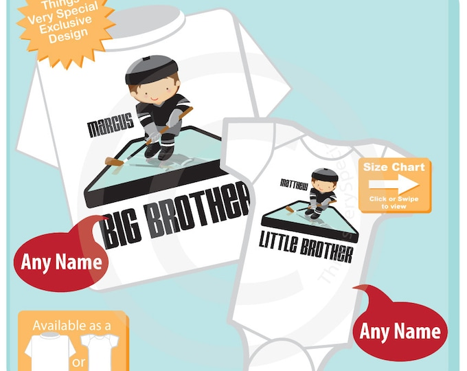 Big Brother Little Brother Shirt set of 2, Sibling Shirt, Personalized Tshirt with Hockey Players - Price is for Both 01282016c