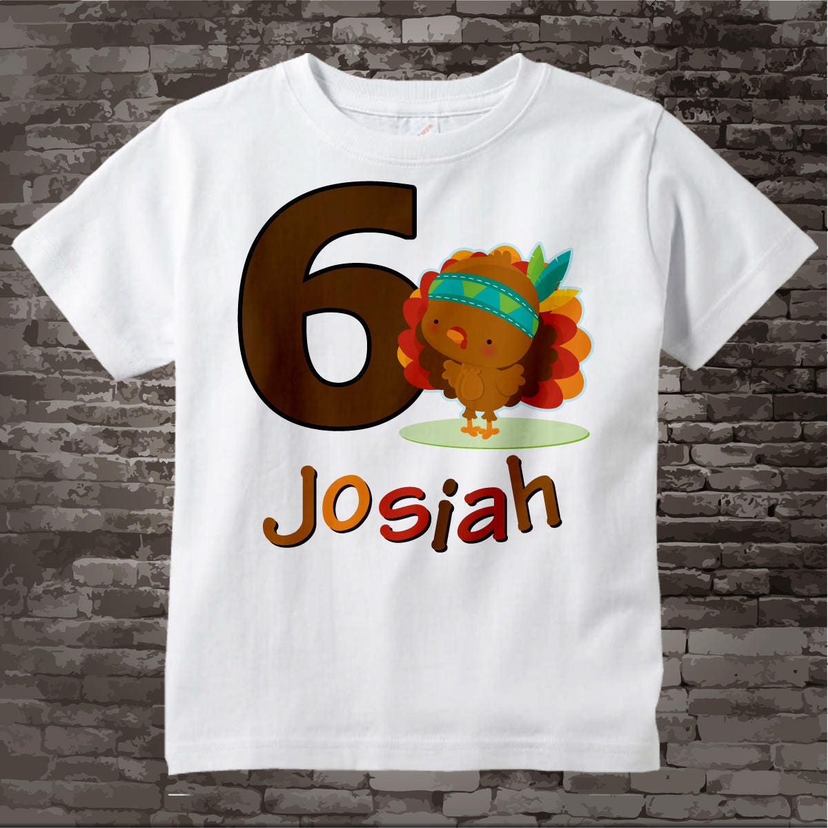 6 Year Old Thanksgiving Birthday T Shirt Sixth Tee Turkey Six 10302017a Gallery Photo