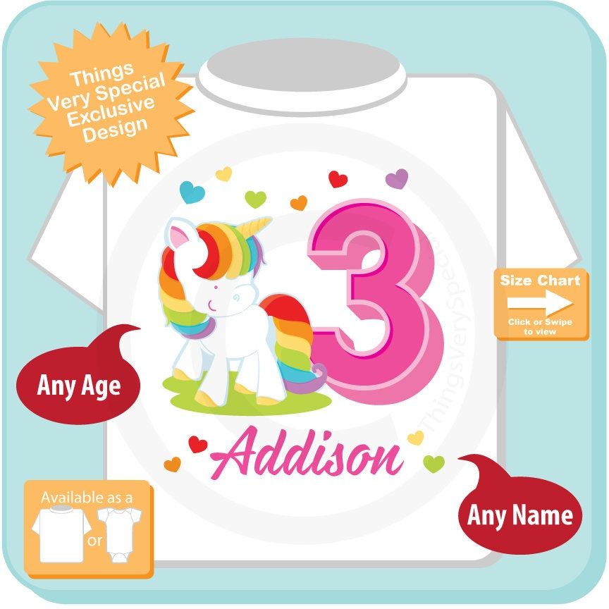 Rainbow Unicorn 3rd Birthday Shirt Any Age Can Be Done Cotton Tee
