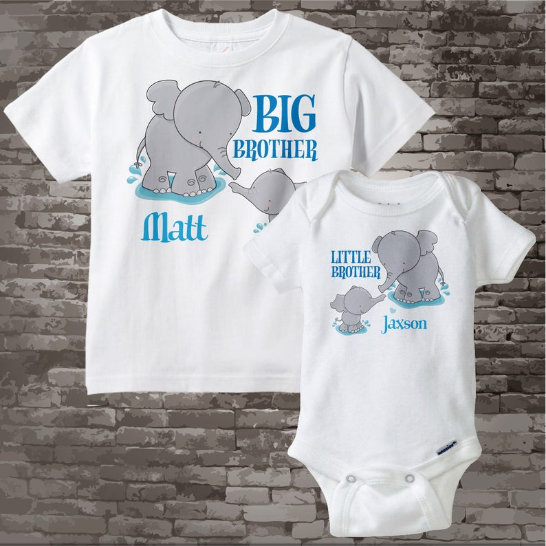 3fae0ebd4 Set of Two Boys Personalized Elephant Big Brother and Little   Etsy