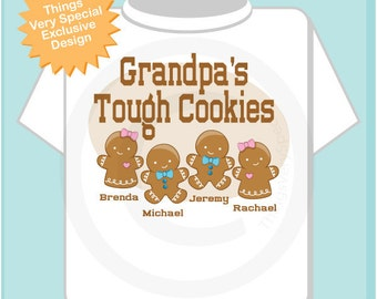 Men's Personalized Grandpa's Tough Cookies Christmas shirt with Grandchildren's names as Gingerbread cookies