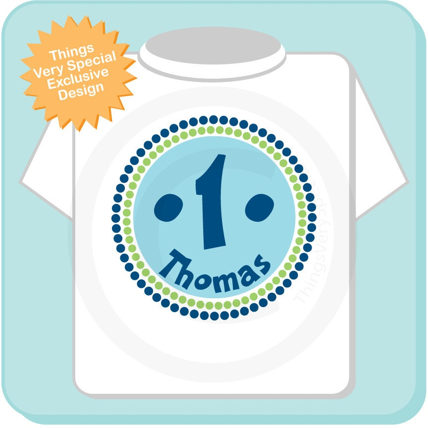 Birthday Shirt One Year Old Blue Personalized Boy Circle Design Tee Or Onesie Green And 12302013b