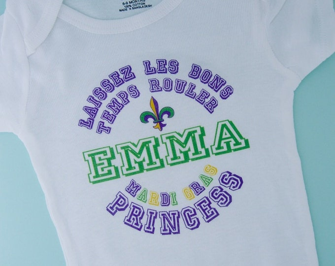 Personalized Mardi Gras Princess Shirt or Onesie for toddlers, youth and infants (02102012e)