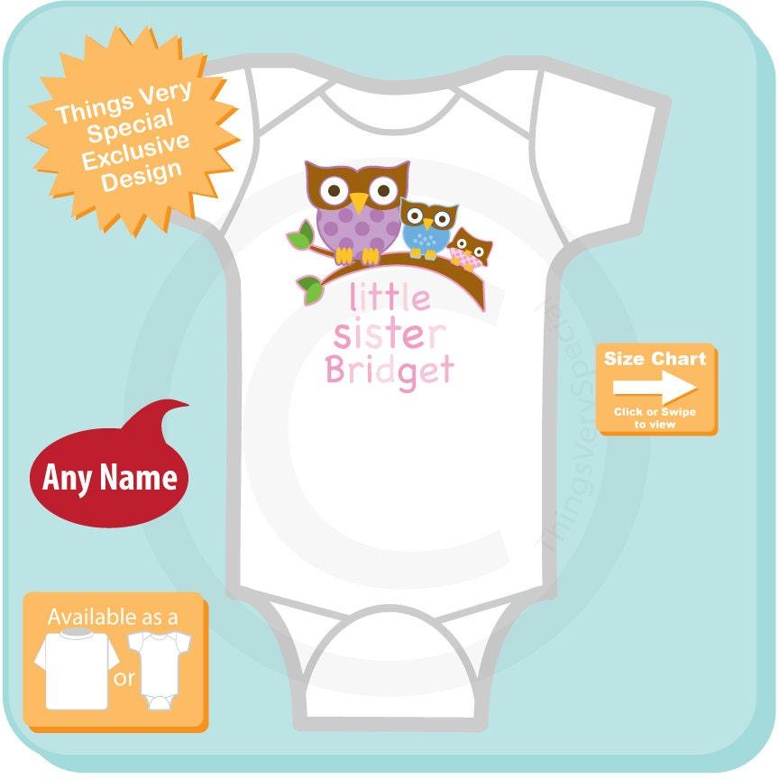Girls Little Sister Owl Onesie Or Tee Shirt Pregnancy Announcement