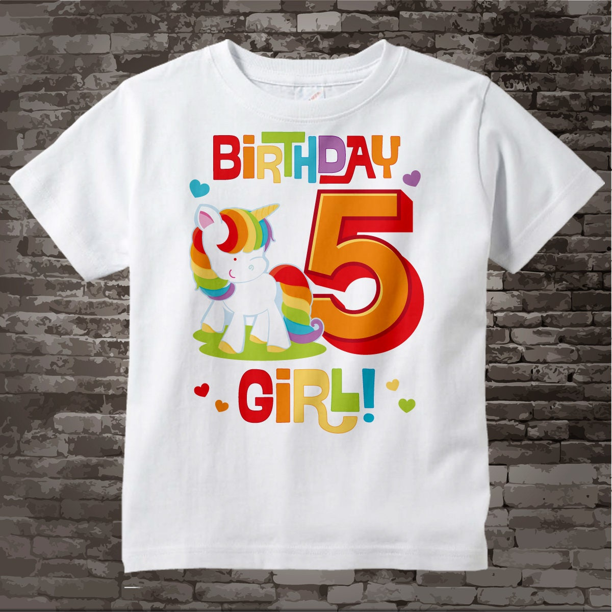 5th Birthday Girl Unicorn Shirt Girls Fifth Rainbow Cotton Short Or Long Sleeve T 10272017a