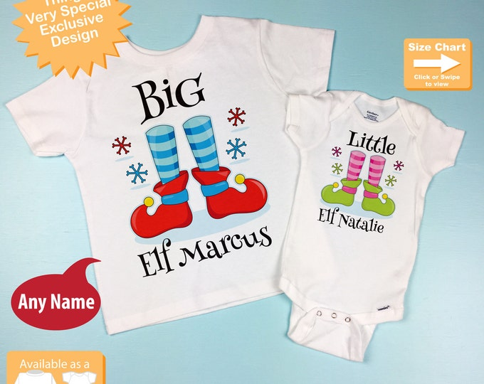 Set of Two - Big Brother Little Sister Sibling Matching Set - Christmas Elf Announcement - Price is for Both (11302015d)
