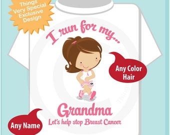 Personalized I Run for my Grandma Children's Tee Shirt or Onesie with Breast Cancer Pink Ribbon