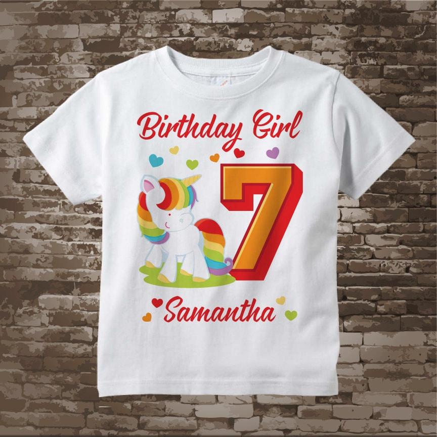Personalized Girls Seventh Birthday Shirt Rainbow Unicorn Theme 12052017d Gallery Photo