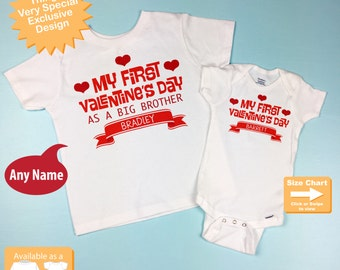 Valentine's Big Brother Outfit set - Matching Sibling Set of 2 - Kids Matching Outfits - My First Valentine's Day 01182017a