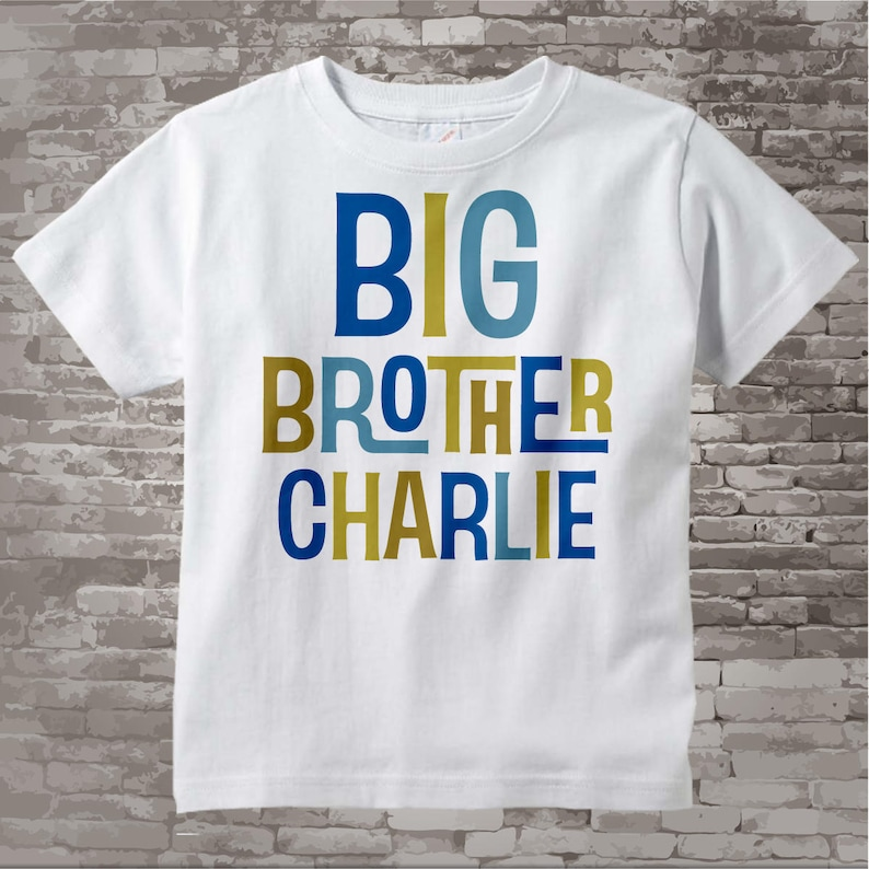 Boys Personalized Big Brother Tshirt or Onesie Infant image 0