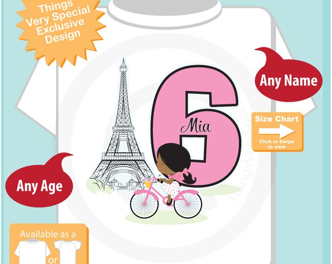 Paris Birthday Shirt for sixth Birthday, Pink 6 Birthday Shirt, Personalized Girls Birthday Shirt, Tee for dark skin child 07112018a