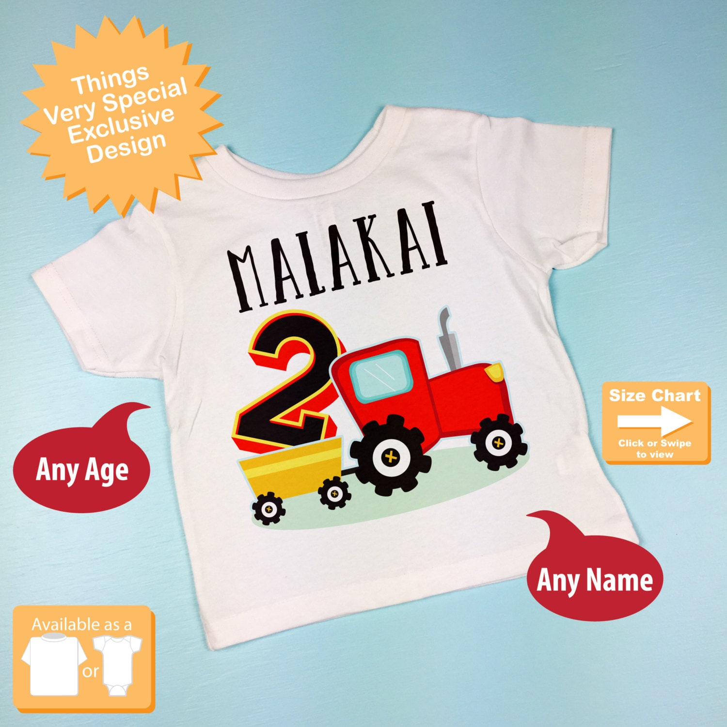 Second Birthday Red Farm Tractor Shirt Or Onesie Bodysuit 2 Year Old 2nd 08312015a