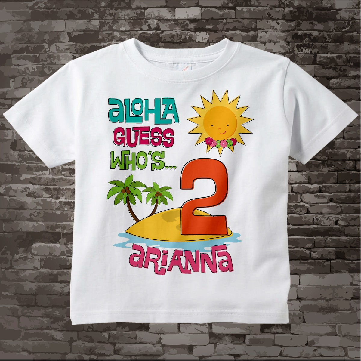 Girls Hawaiian Luau Second Birthday Shirt Personalized 2nd