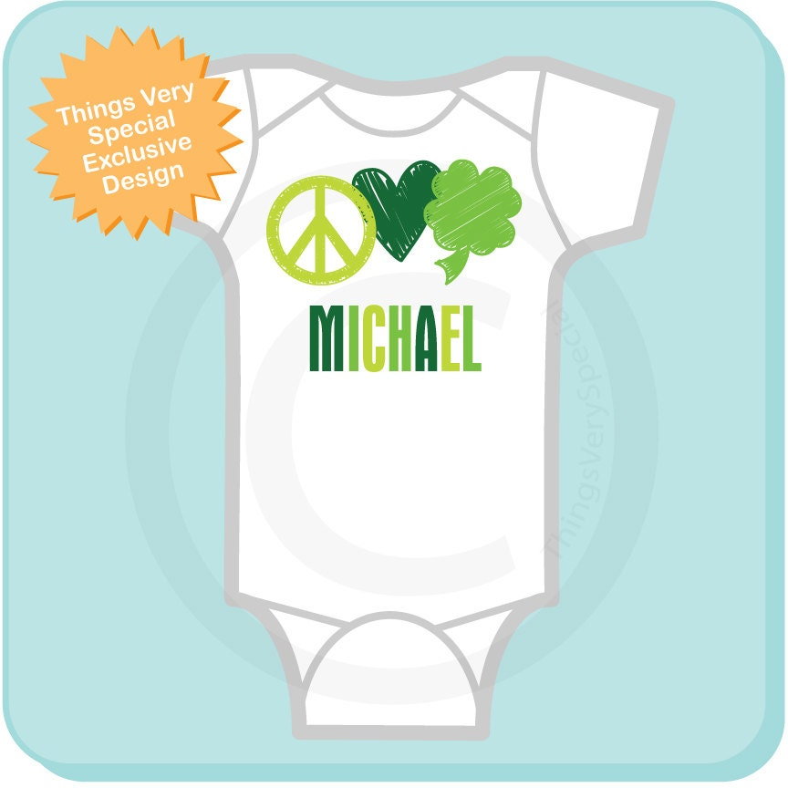 bc655bd3a St Patrick's Day Onesie, Personalized Peace Love Shamrock Shirt or Onesie, 4  Leaf Clover Shirt for Toddlers and Kids (03052012b1). gallery photo ...