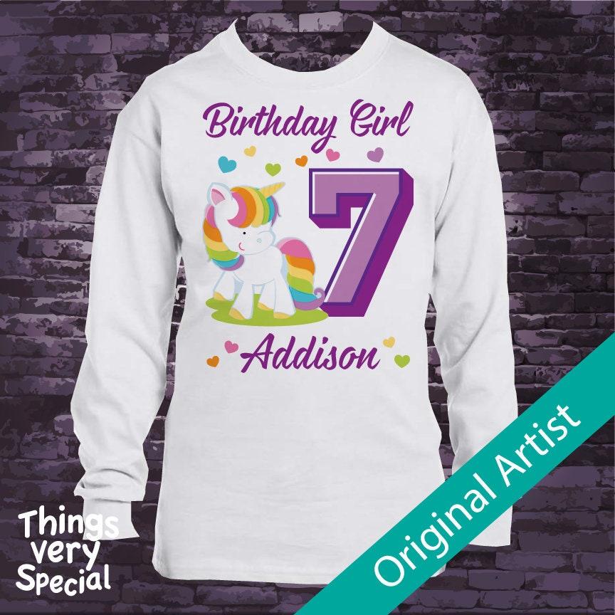 Personalized Girls Seventh Birthday Shirt Rainbow Unicorn Theme 12202018b Gallery Photo
