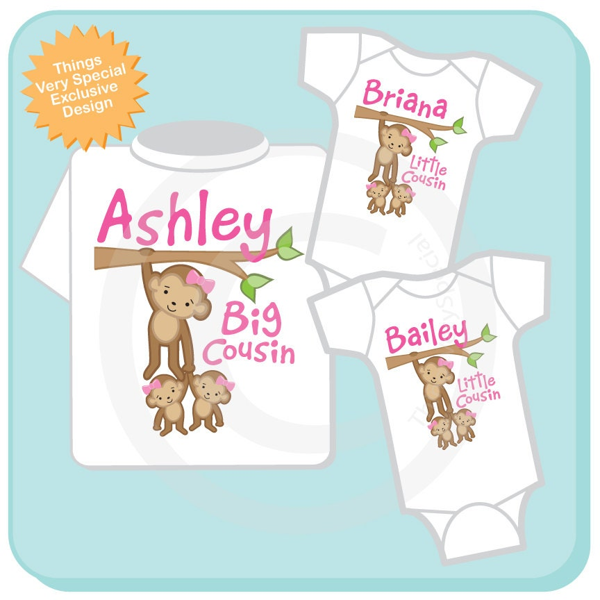 1652859f Matching Sibling Outfits for Cousins, Three Monkey Cousin Shirt and ...