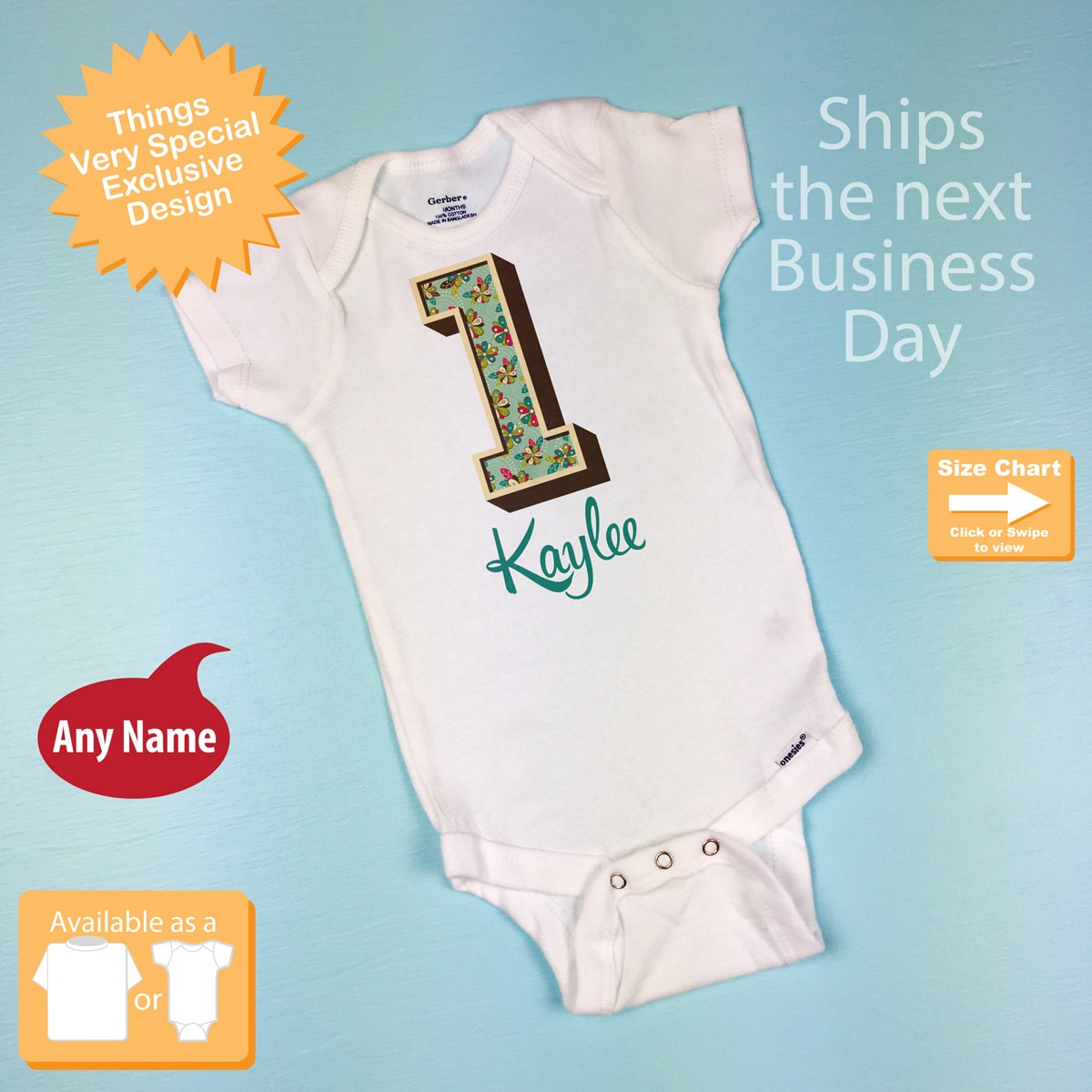 1st Birthday Onesie One Year Old Shirt With Name First
