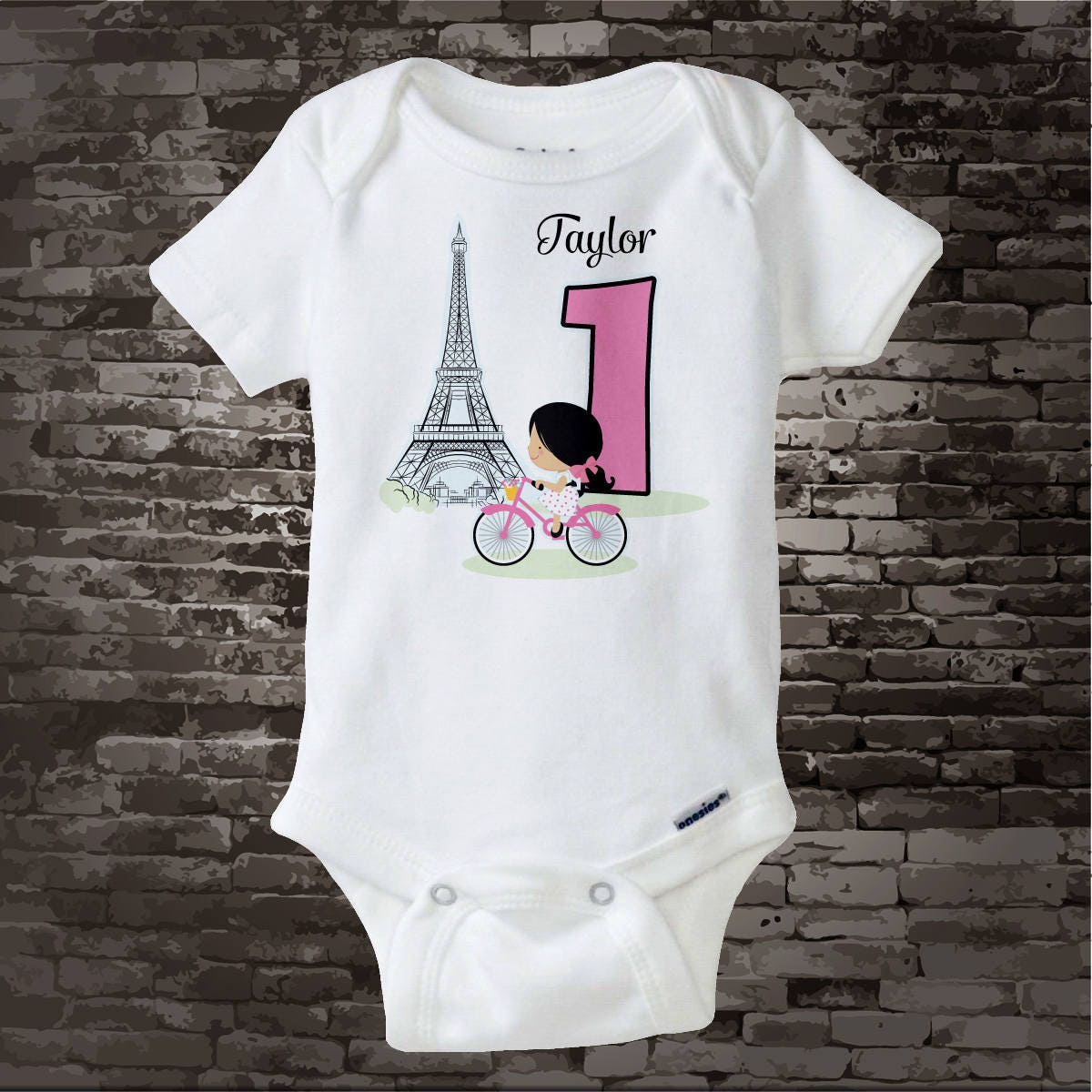 Paris First Birthday Onesie Bodysuit Or Shirt 1 Year Old Girl