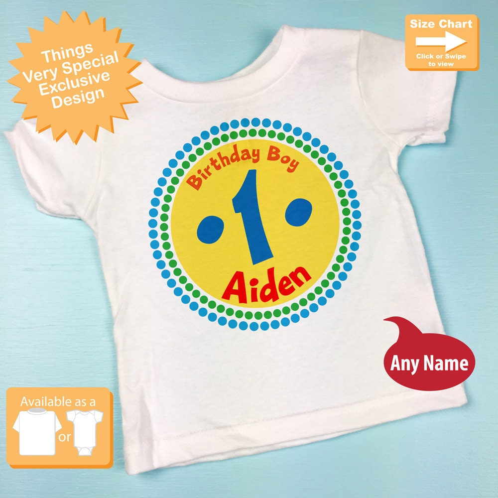 First Birthday Shirt 1 Year Old Rainbow Personalized Boy Circle Tee Or Onesie Colors 07022012c