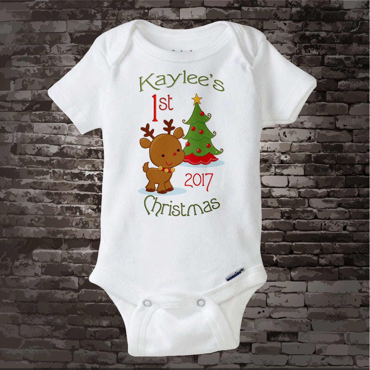 38728264749f ... My First Christmas Onesie, Personalized 1st Christmas Shirt or Onesie,  Reindeer - Christmas Outfit 08222012d. gallery photo gallery photo ...