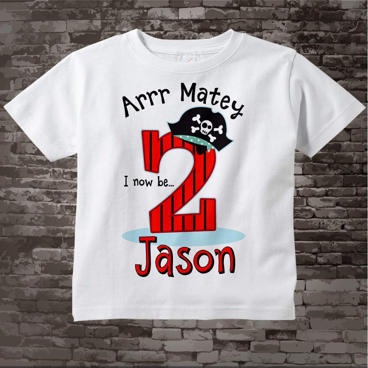 Pirate Birthday T Shirt Or Onesie Bodysuit For 2 Year Old Boy