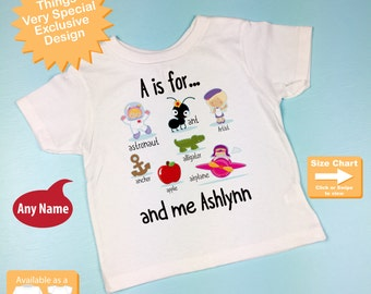 Girl's Personalized A is for Shirt or Onesie Personalized with childs name with everything that starts with A, alphabet learning 12162015c