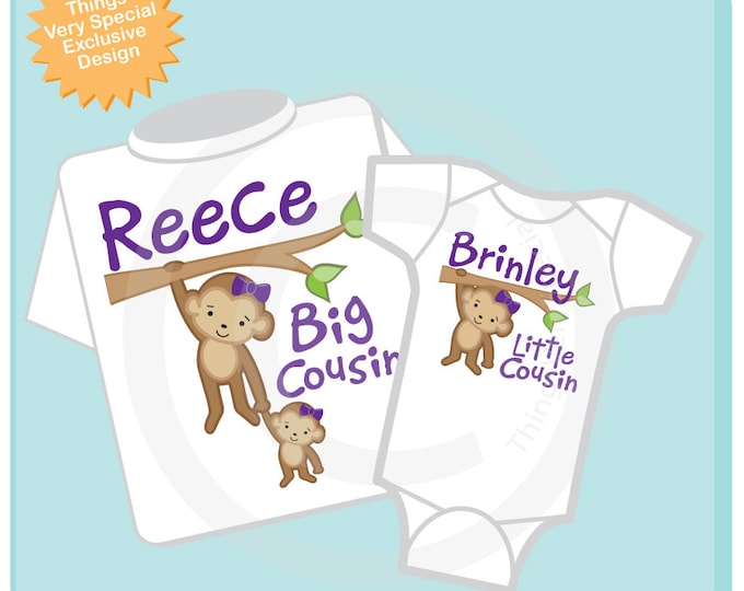 Big Cousin Little Cousin Shirt set of 2, Matching Cousin outfits, Personalized Tshirt with Cute Monkeys 01262016b