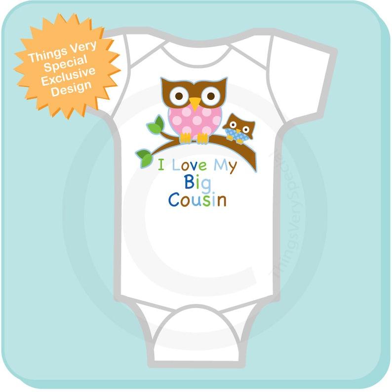 Little Cousin Owl Tee Shirt or Onesie Pregnancy Announcement 07082013a Boy/'s I Love My Big Cousin