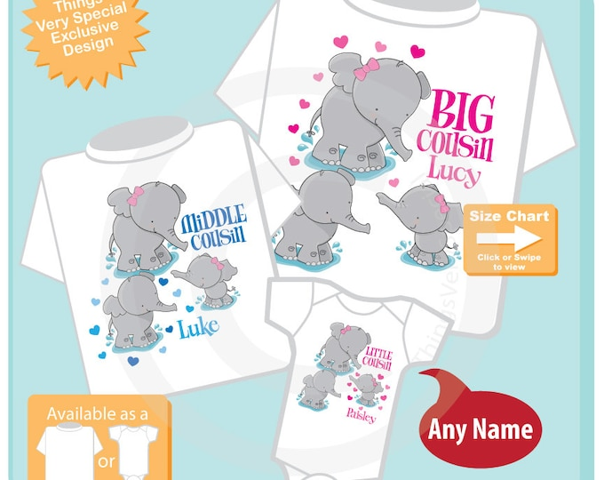 Set of Three, Big Cousin, Middle Cousin and Little Cousin Elephant Shirts and Onesie Personalized with your child's name (08252016a)