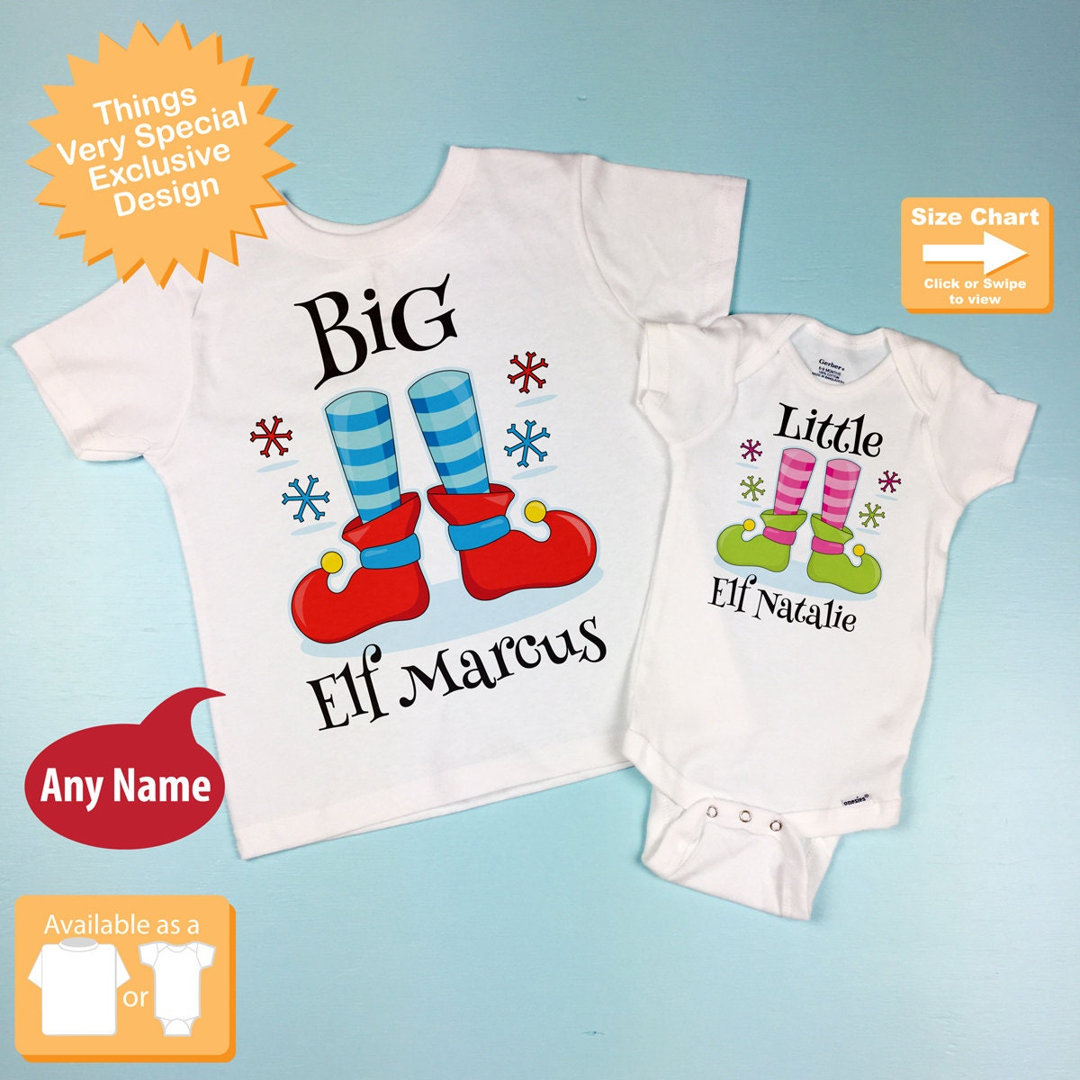 2fa893fd2 Set of Two - Kids Christmas outfits for Big Brother and Little Sister - T- Shirt or Onesie, Price is for Both 11302105d. gallery photo ...