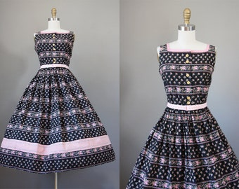 6b6f8deb644 1950s Dress - Vintage 50s Dress - Tea Length Black Pink Rose Print and  Plaid Cotton Betty Barclay Sundress Size S to M