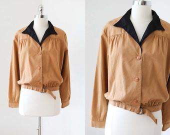 1970s Jacket - Vintage 70s does 1940s Killer Cropped Wasp Waist Sporty Cotton Butternut + Black Jacket Size M to L