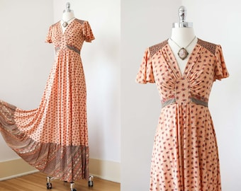 1970s Dress - Vintage 70s Maxi Gown - Jody T Empire Prairie Gown in Rich Autumnal Jersey Size XS to S