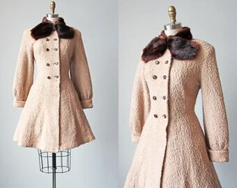 1940s Princess Coat - Vintage 40s Coat - Neutral Bone Ivory Boucle Wool Mink Fur Coat S to M - Second Glance Coat