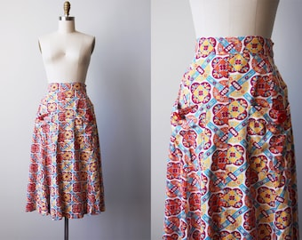40s Skirt - Vintage 1940s Skirt - Art Deco Cotton Floral Print A-line Skirt w Pockets and Buttons M - Autumn Rising Skirt