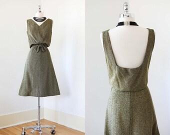 1950s Dress - Vintage 50s to 60s Dress - Black Gold Lurex Knit Cocktail w Cutaway Rear View Size S
