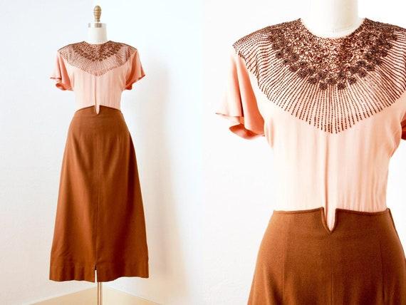 R e s e r v e d 1940s Dress - Vintage 40s Dress -