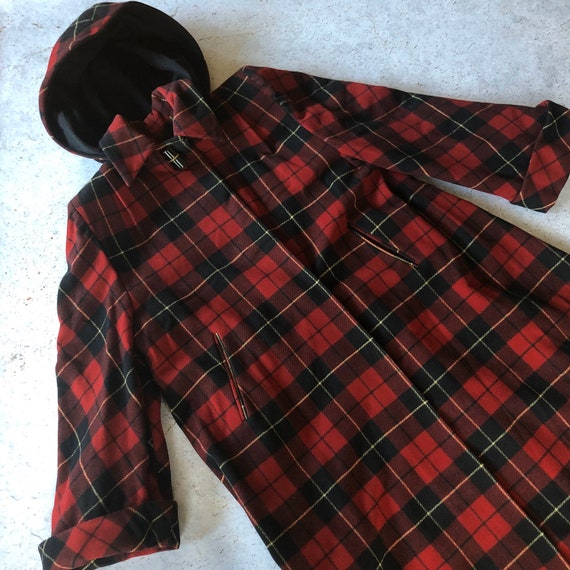 1940s RARE Hooded Coat - Vintage 40s Coat - Red Pl