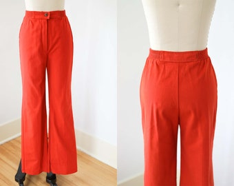 1970s Bell Bottom Pants - Vintage 70s Trousers -  Incredible Deep Blood Orange Flares Slacks Size XS to S W25/26/27